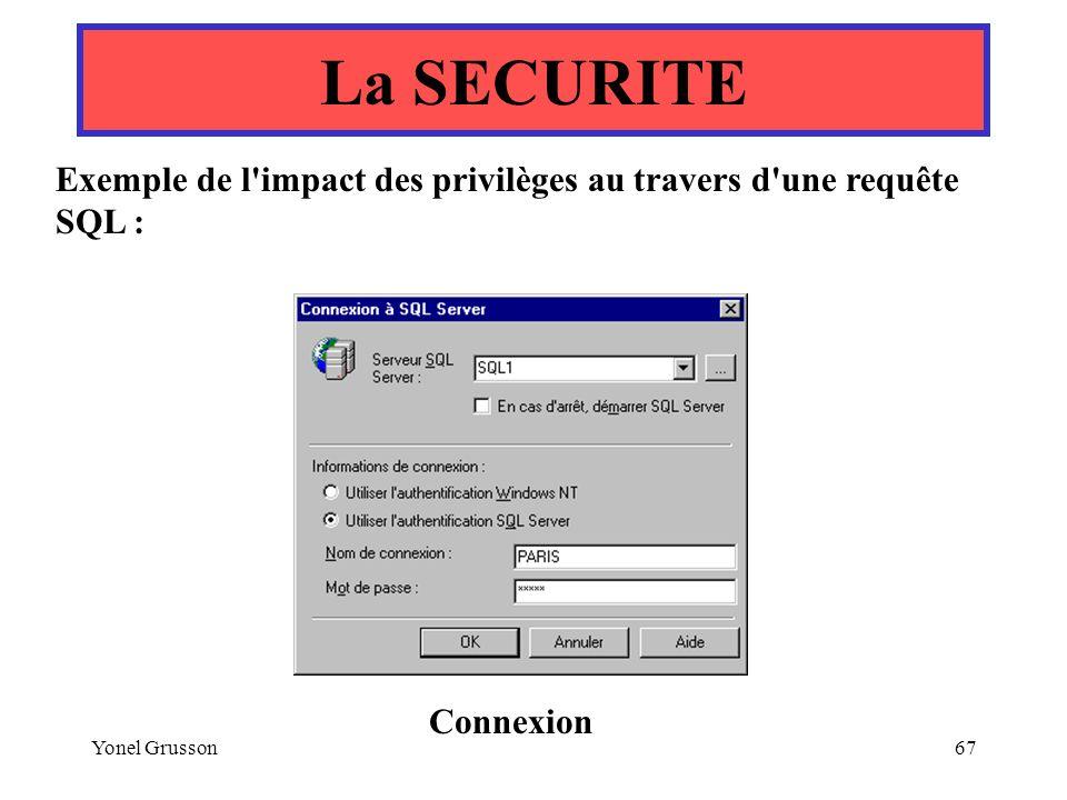 La SECURITE Exemple de l impact des privilèges au travers d une requête SQL : Connexion.