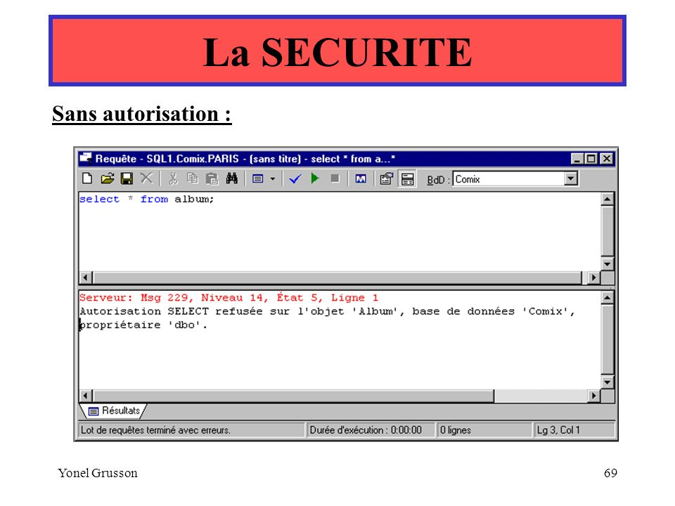 La SECURITE Sans autorisation : Yonel Grusson
