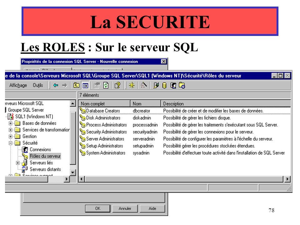La SECURITE Les ROLES : Sur le serveur SQL Yonel Grusson