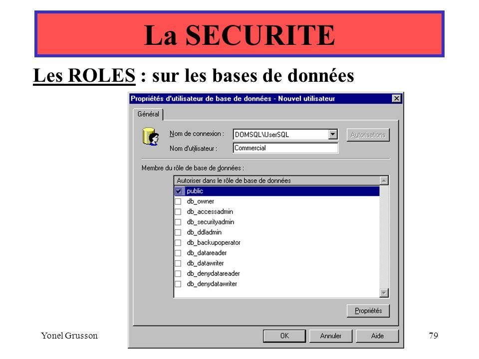 La SECURITE Les ROLES : sur les bases de données Yonel Grusson