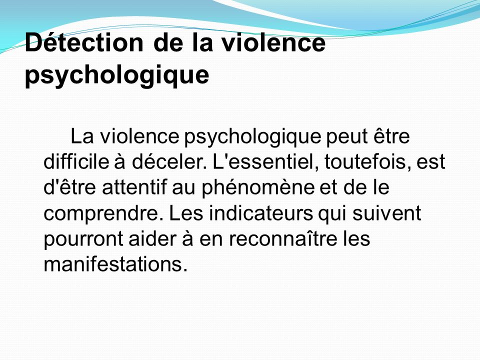 Détection de la violence psychologique