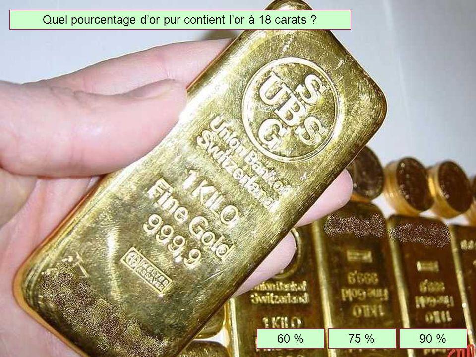 Quel pourcentage d'or pur contient l'or à 18 carats