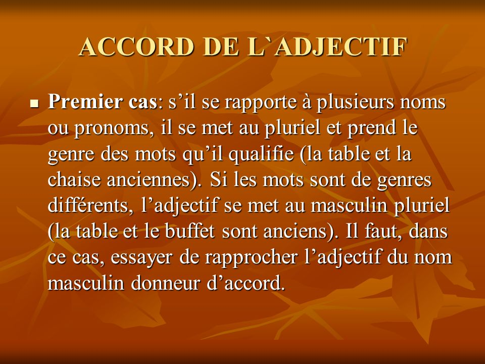 ACCORD DE L`ADJECTIF