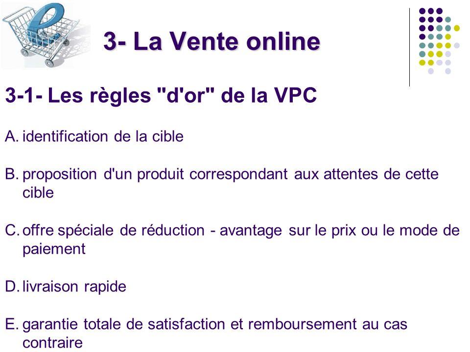 3- La Vente online 3-1- Les règles d or de la VPC