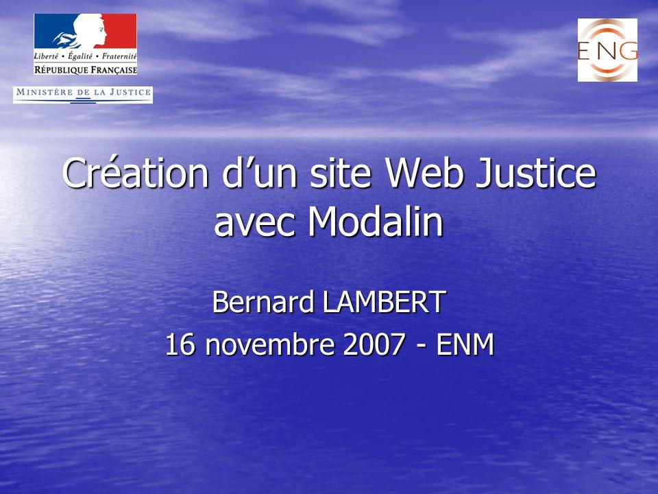 Création d'un site Web Justice avec Modalin
