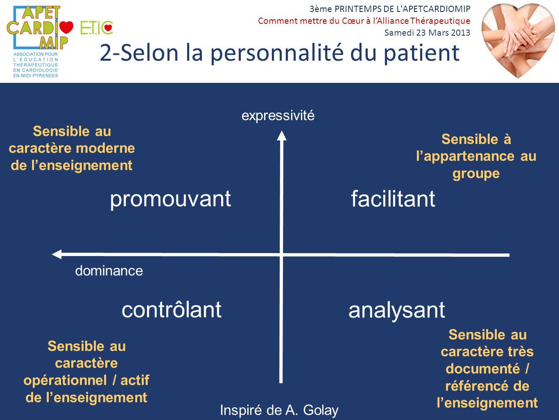 2-Selon la personnalité du patient