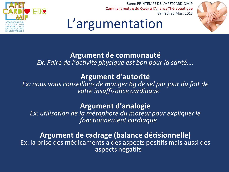 Argument de communauté Argument de cadrage (balance décisionnelle)