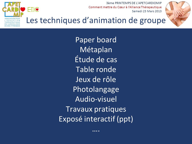 Les techniques d'animation de groupe