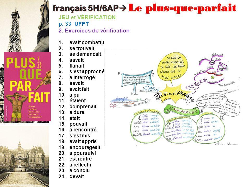 français 5H/6AP Le plus-que-parfait