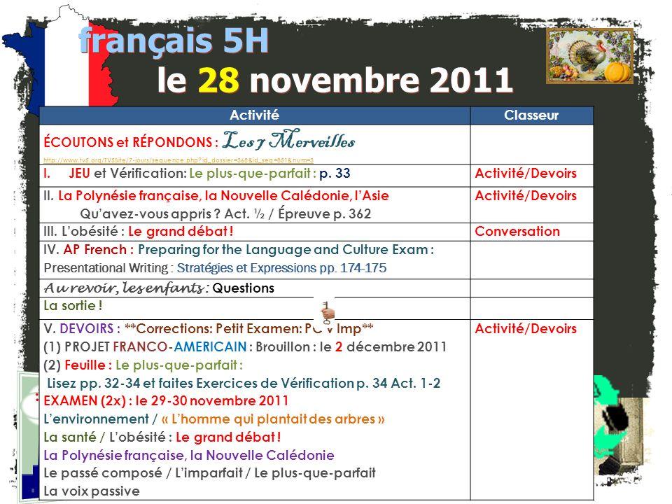 français 5H le 28 novembre 2011 Activité Classeur