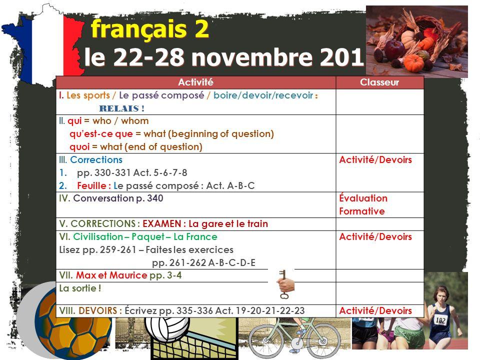 français 2 le 22-28 novembre 2011 Activité Classeur