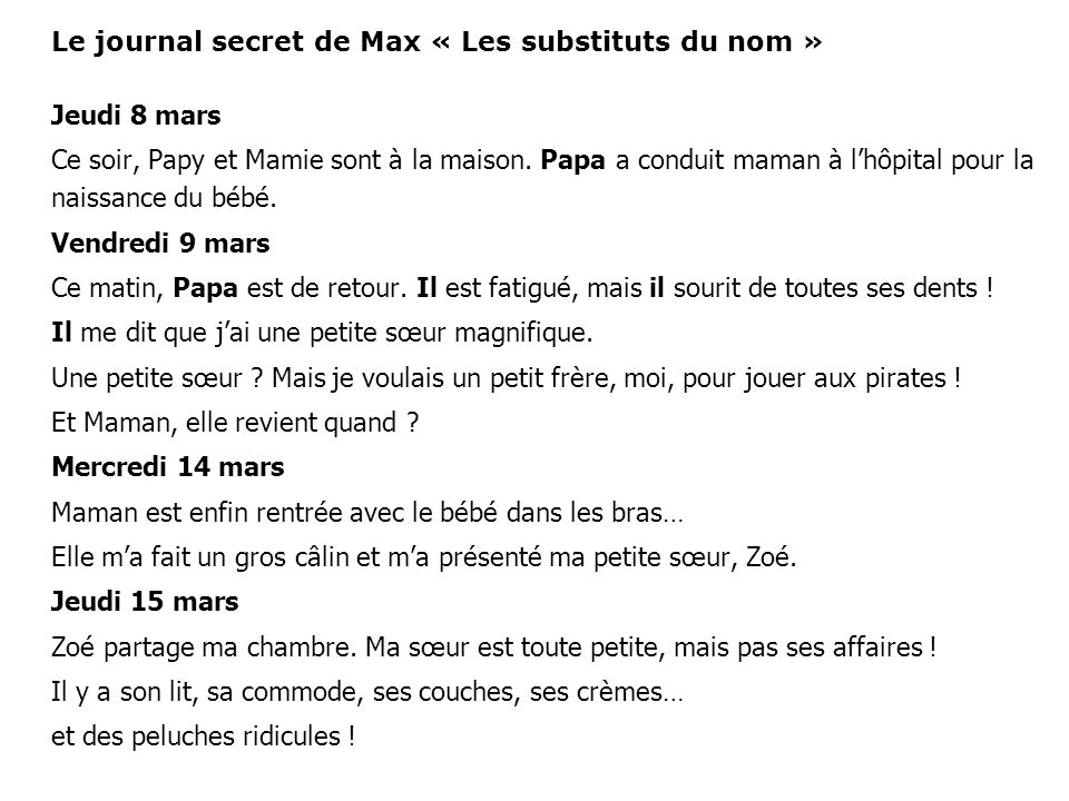 Le journal secret de Max « Les substituts du nom » Jeudi 8 mars