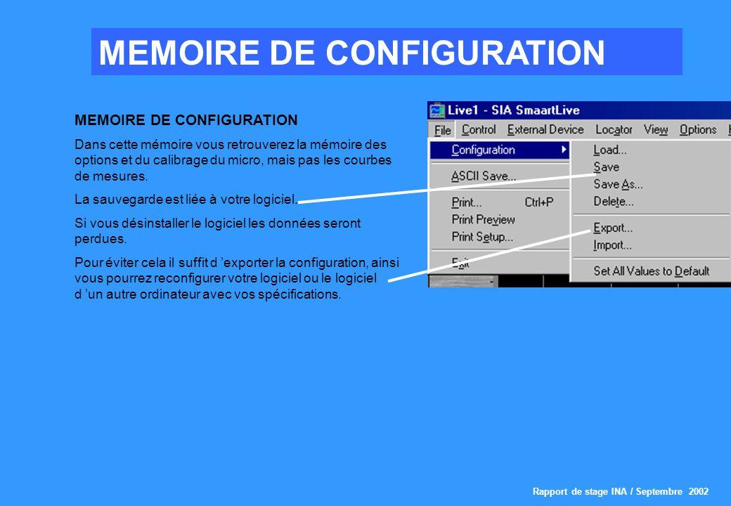 MEMOIRE DE CONFIGURATION