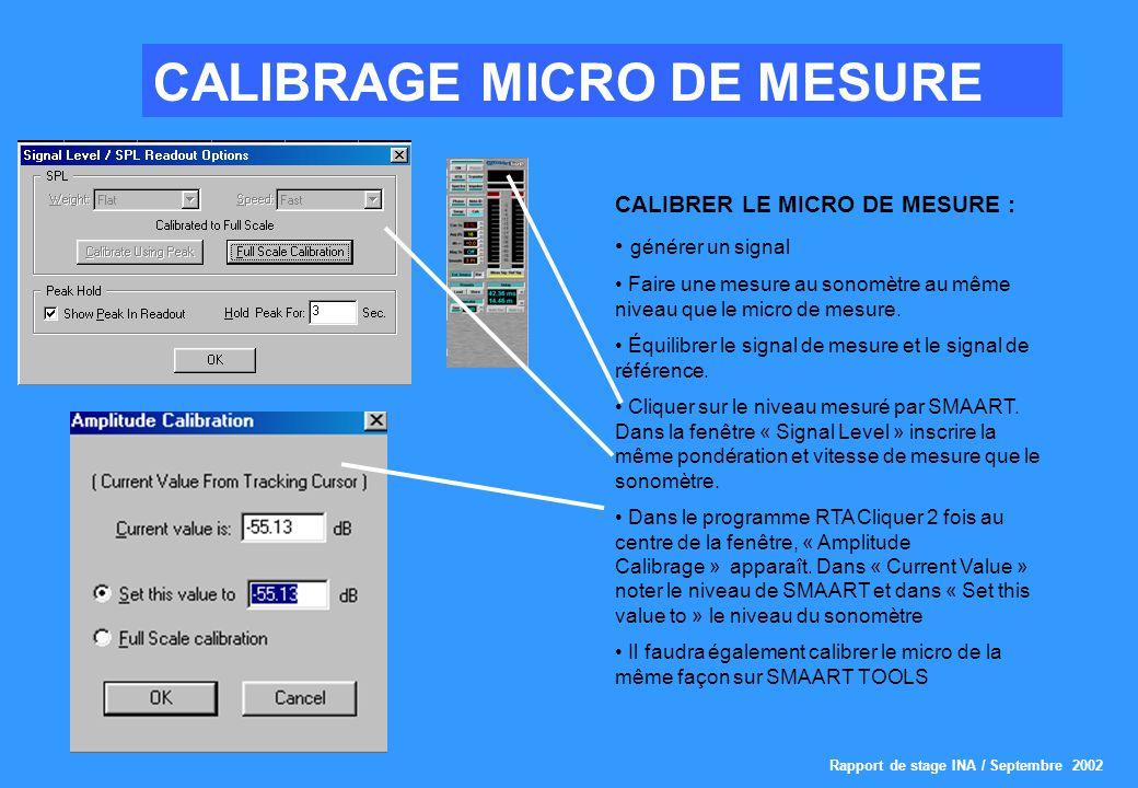 CALIBRAGE MICRO DE MESURE