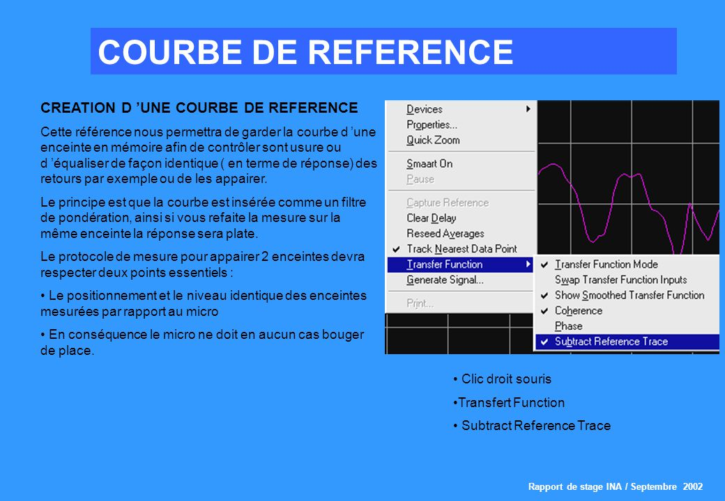 COURBE DE REFERENCE CREATION D 'UNE COURBE DE REFERENCE