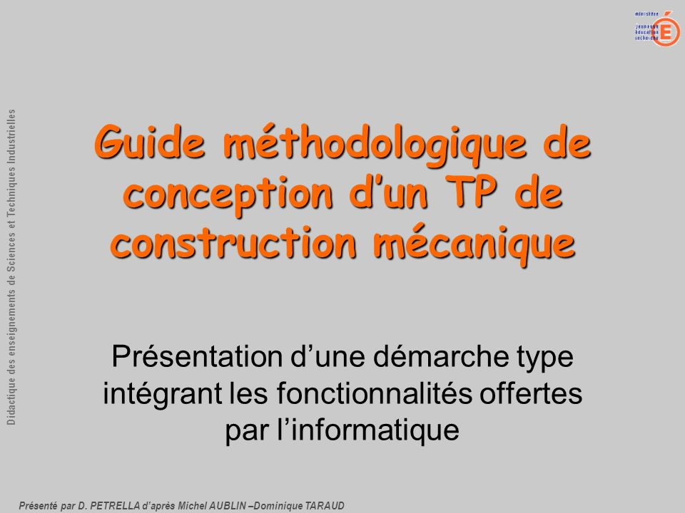 Guide méthodologique de conception d'un TP de construction mécanique