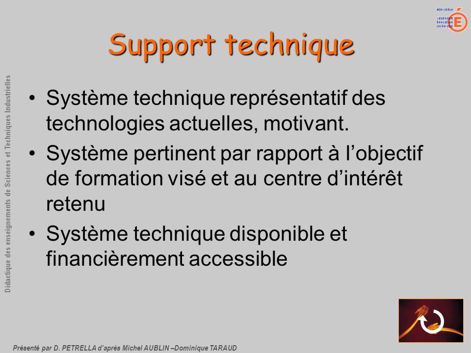 Support techniqueSystème technique représentatif des technologies actuelles, motivant.