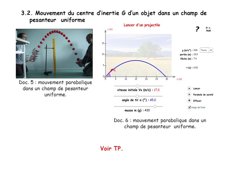 3.2. Mouvement du centre d'inertie G d'un objet dans un champ de pesanteur uniforme