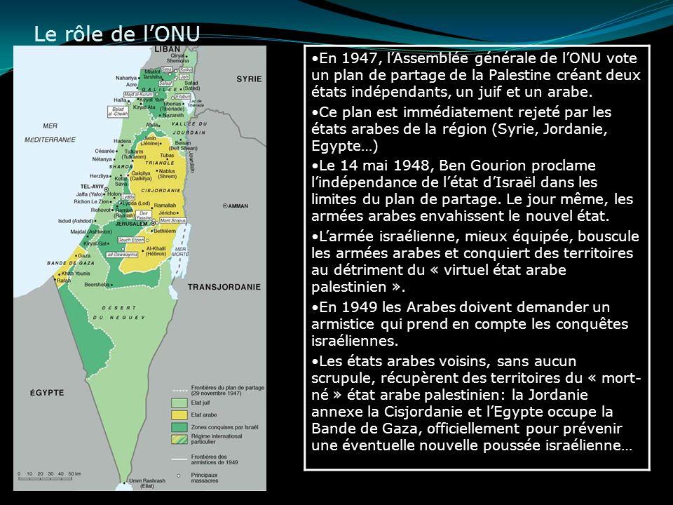 Le rôle de l'ONU En 1947, l'Assemblée générale de l'ONU vote un plan de partage de la Palestine créant deux états indépendants, un juif et un arabe.