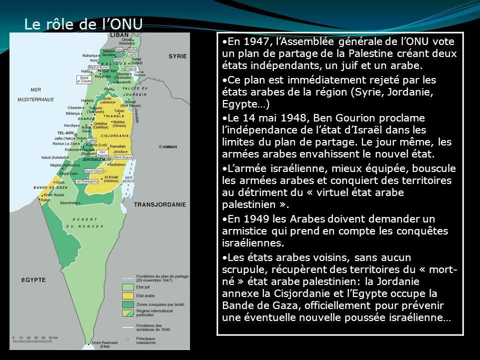 Le rôle de l'ONUEn 1947, l'Assemblée générale de l'ONU vote un plan de partage de la Palestine créant deux états indépendants, un juif et un arabe.