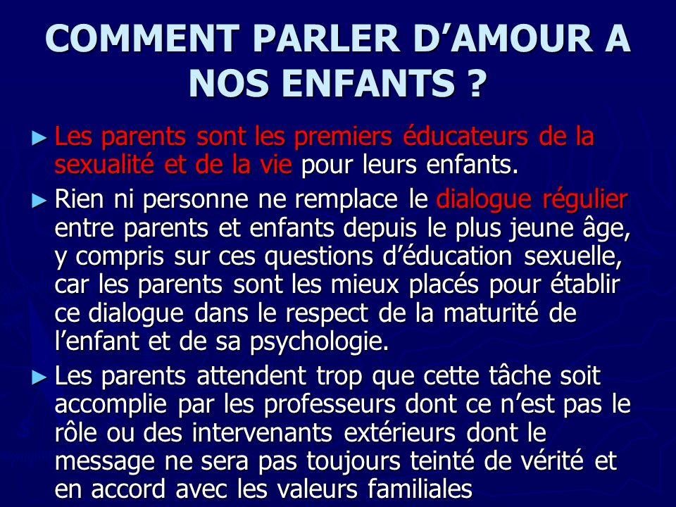 COMMENT PARLER D'AMOUR A NOS ENFANTS