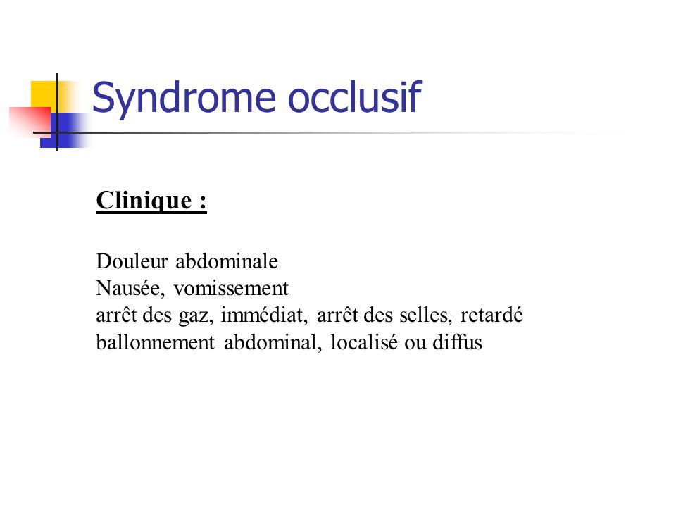 Syndrome occlusif Clinique : Douleur abdominale Nausée, vomissement