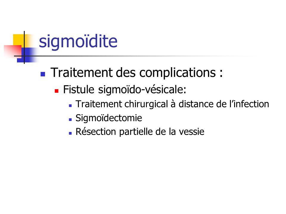 sigmoïdite Traitement des complications : Fistule sigmoïdo-vésicale: