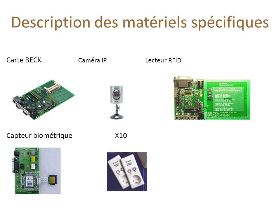 Description des matériels spécifiques