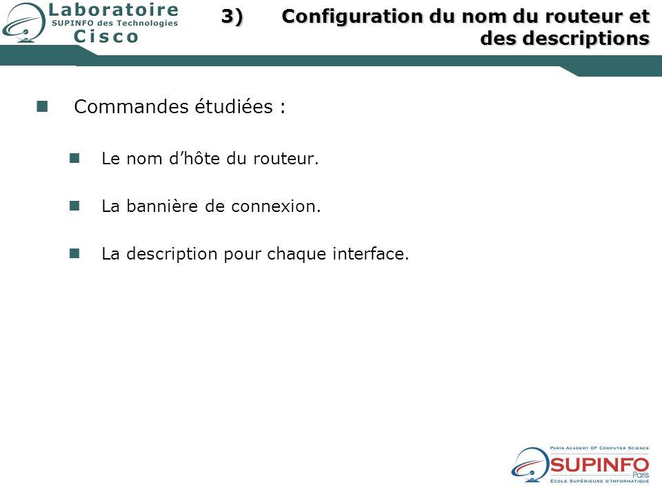 Configuration du nom du routeur et des descriptions