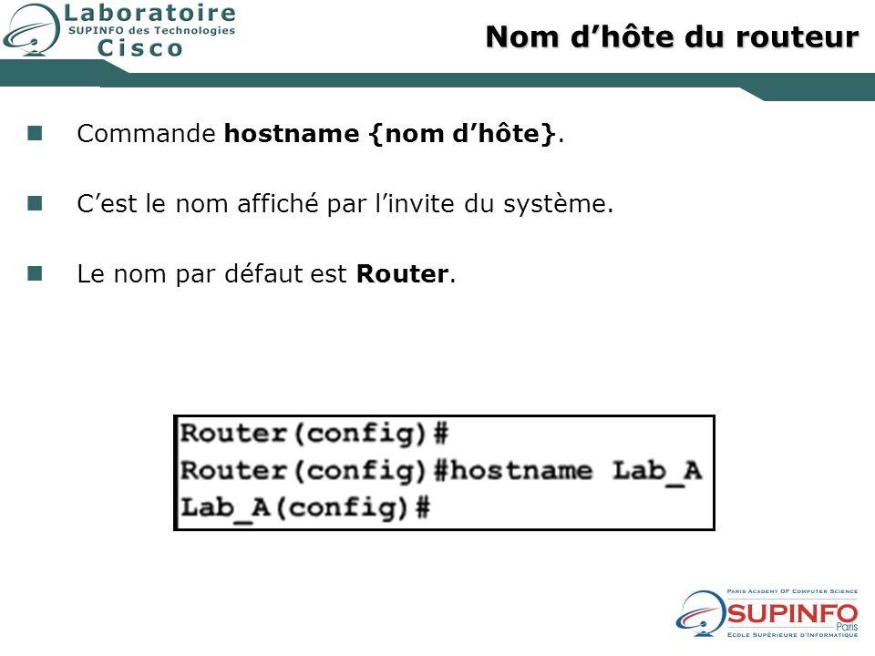 Nom d'hôte du routeur Commande hostname {nom d'hôte}.