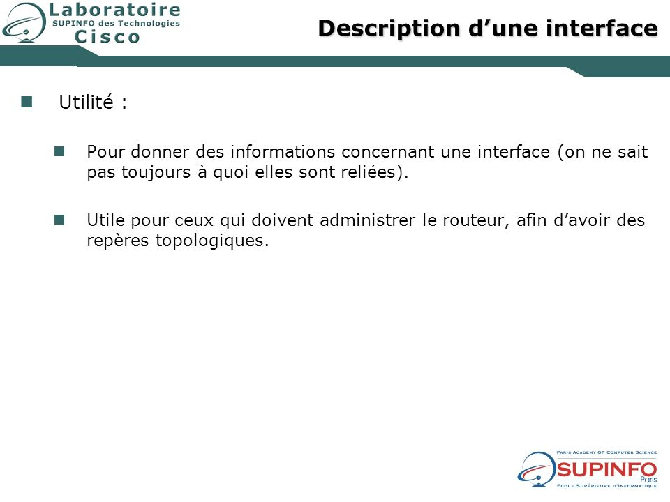 Description d'une interface