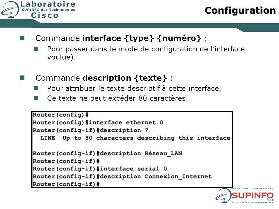 Configuration Commande interface {type} {numéro} :