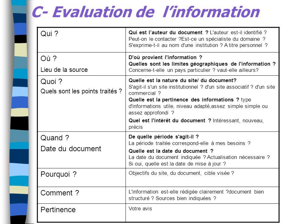 C- Evaluation de l'information