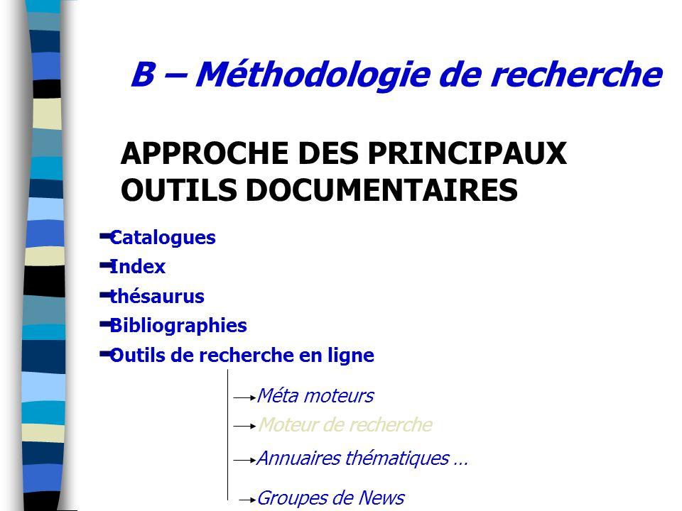 B – Méthodologie de recherche