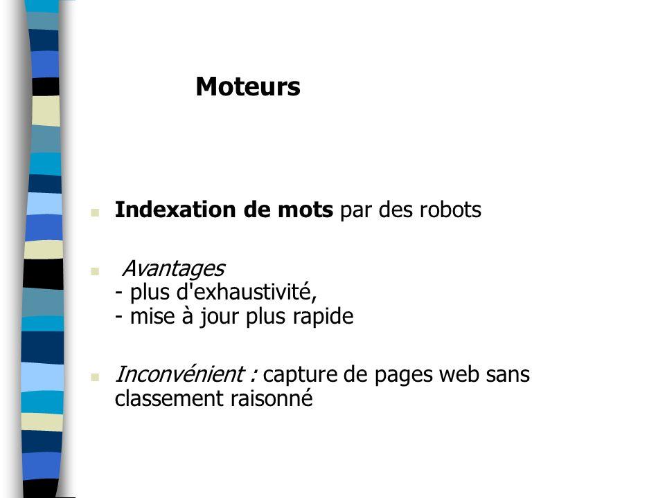 Moteurs Indexation de mots par des robots
