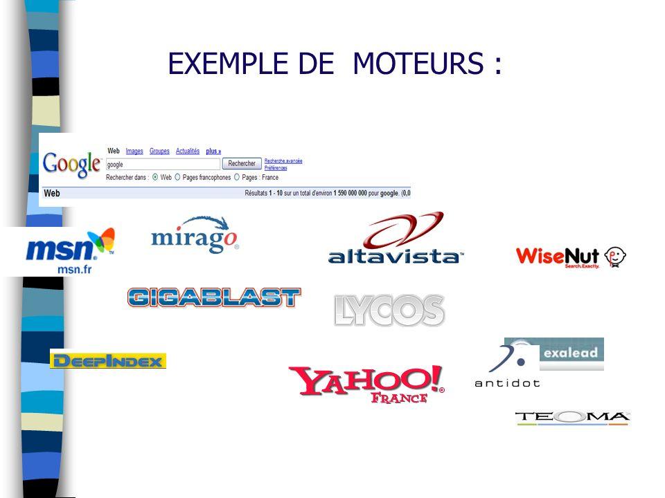 EXEMPLE DE MOTEURS :