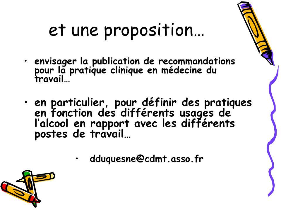 et une proposition…envisager la publication de recommandations pour la pratique clinique en médecine du travail…