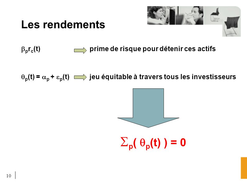 Les rendements Sp( qp(t) ) = 0