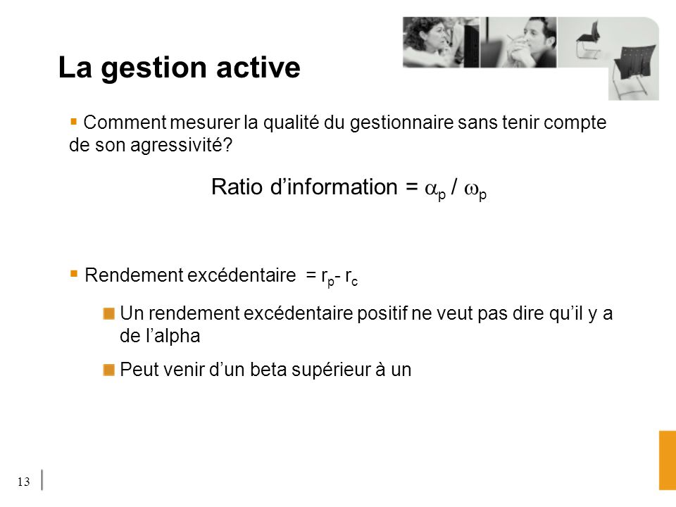 Ratio d'information = ap / wp