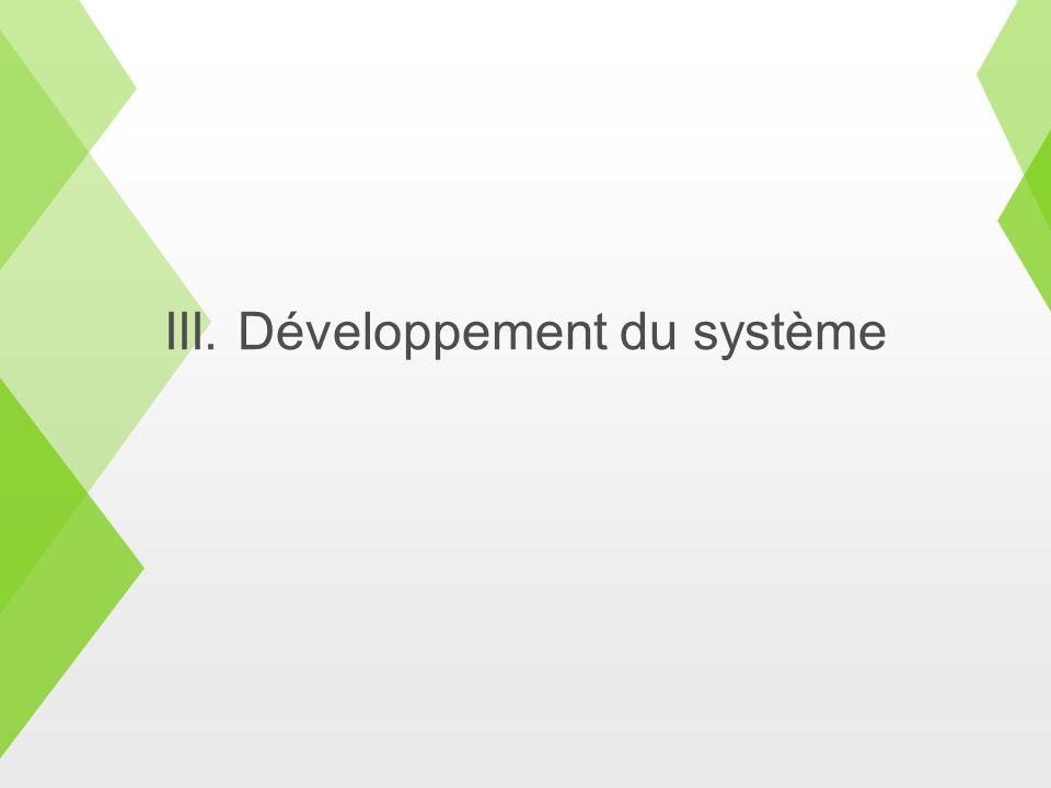 III. Développement du système