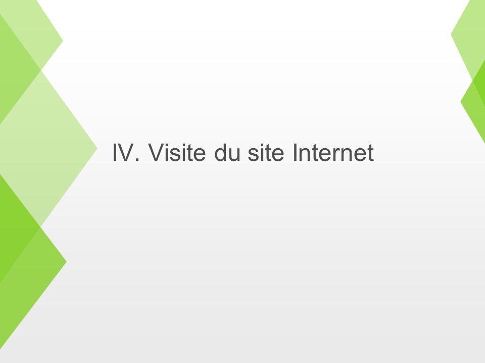 IV. Visite du site Internet