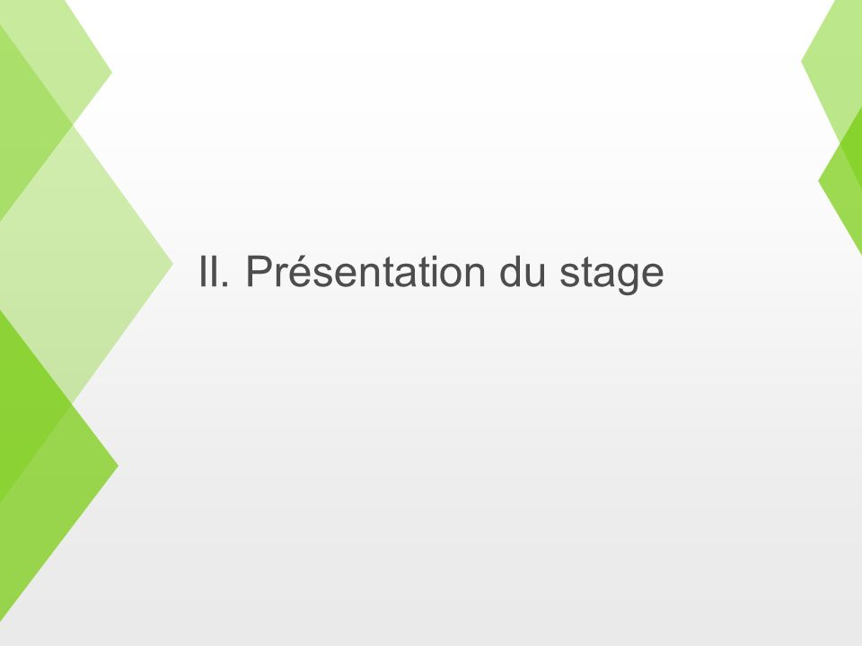 II. Présentation du stage
