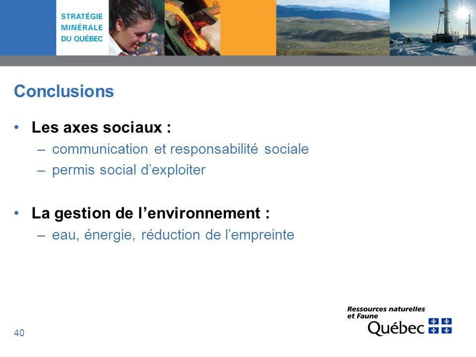Conclusions Les axes sociaux : La gestion de l'environnement :