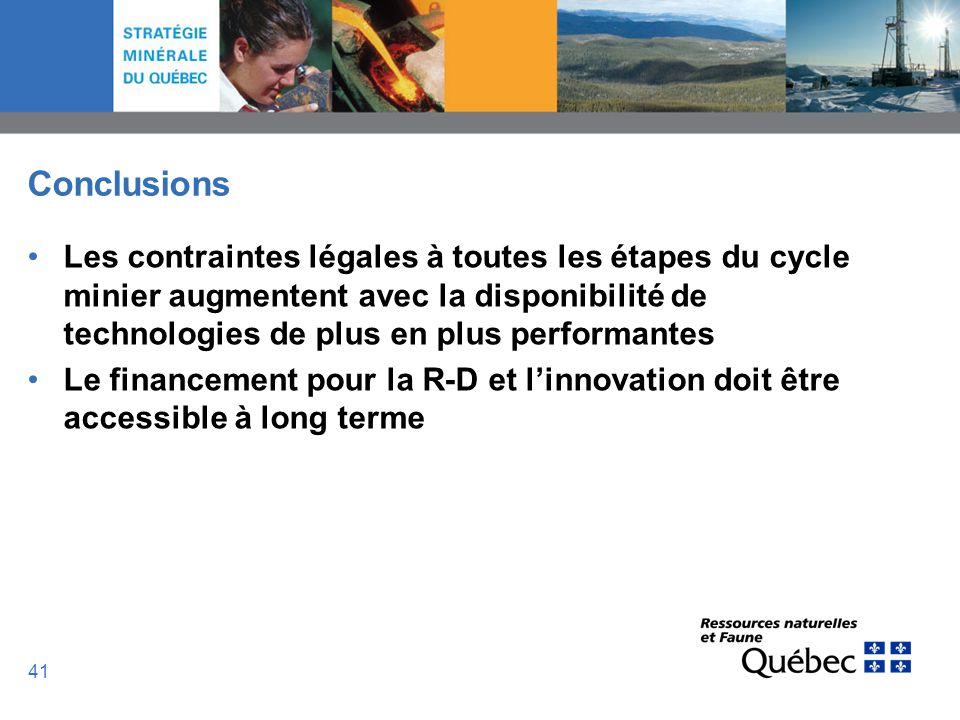 Conclusions Les contraintes légales à toutes les étapes du cycle minier augmentent avec la disponibilité de technologies de plus en plus performantes.