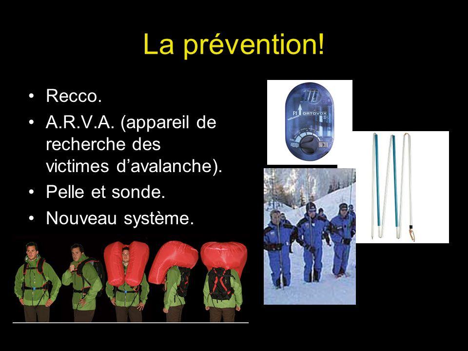 La prévention. Recco. A.R.V.A. (appareil de recherche des victimes d'avalanche).