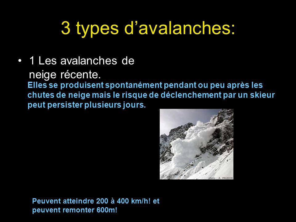 3 types d'avalanches: 1 Les avalanches de neige récente.