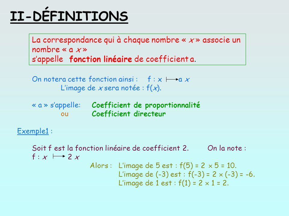 II-DÉFINITIONSLa correspondance qui à chaque nombre « x » associe un nombre « a x » s'appelle fonction linéaire de coefficient a.