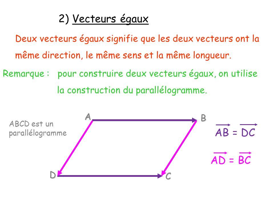 2) Vecteurs égaux AB = DC AD = BC