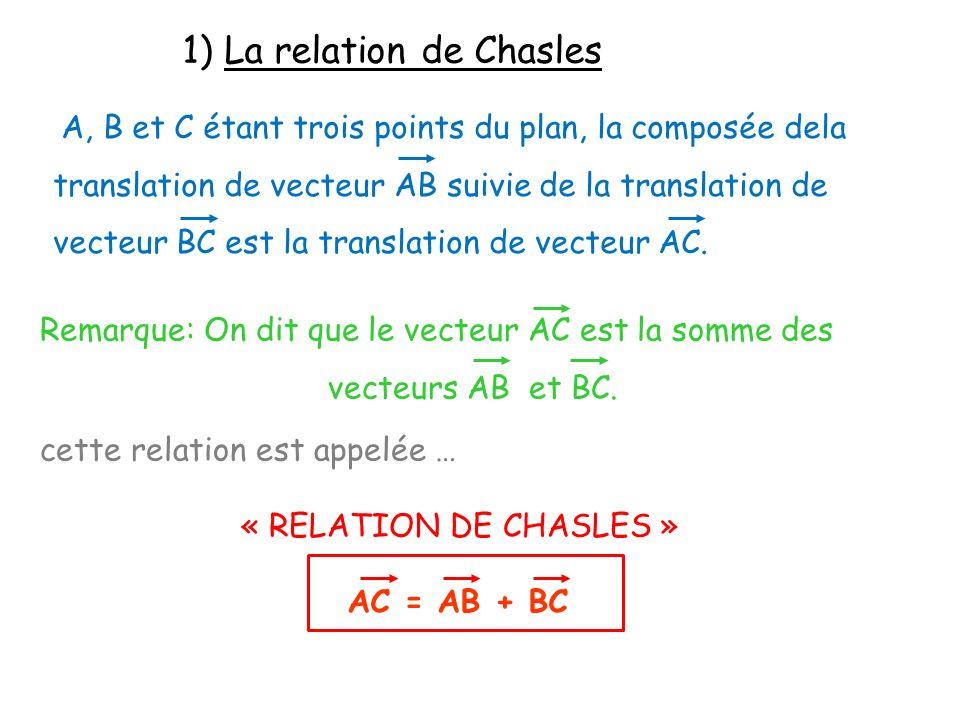 1) La relation de Chasles