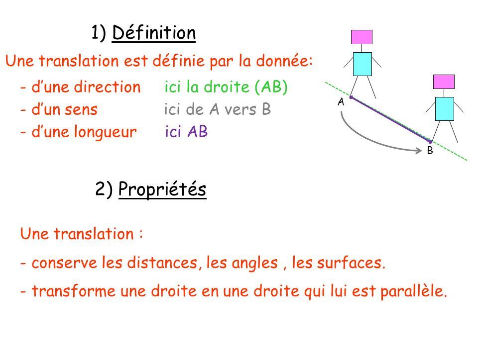 1) Définition 2) Propriétés Une translation est définie par la donnée: